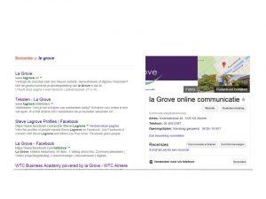 zoekresultaten en kennisvenster